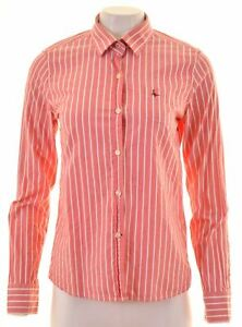JACK-WILLS-Womens-Shirt-Size-12-Medium-Pink-Striped-Cotton-AD11