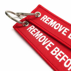2X-Red-For-REMOVE-BEFORE-FLIGHT-Embroidered-Luggage-Tag-Key-Chain-Ring-Aviation