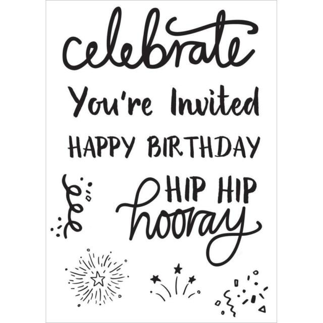 KaiserCraft Clear Stamps Party Time CS276 - Celebrate Birthday Invitation