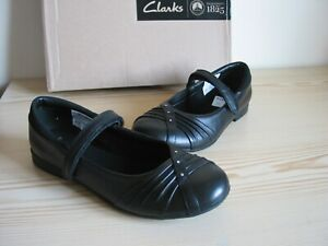 CLARKS BLACK LEATHER DOLLY SCHOOL SHOES