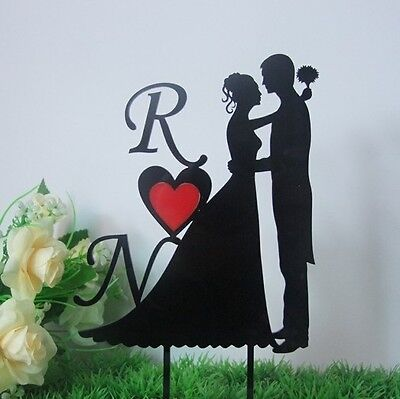 Personalized First Letter of Sweetheart Acrylic Wedding Cake Topper/Cake Deco