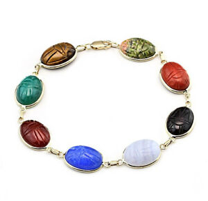 14K-Yellow-Gold-Scarab-Bracelet-With-Oval-Gemstones-7-5-Inches
