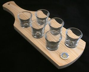 RAF Lest We Forget Set of 6 Shot Glasses with Wooden Paddle Tray Holder BKG61 6QU9ZTvQ-09102258-169276026