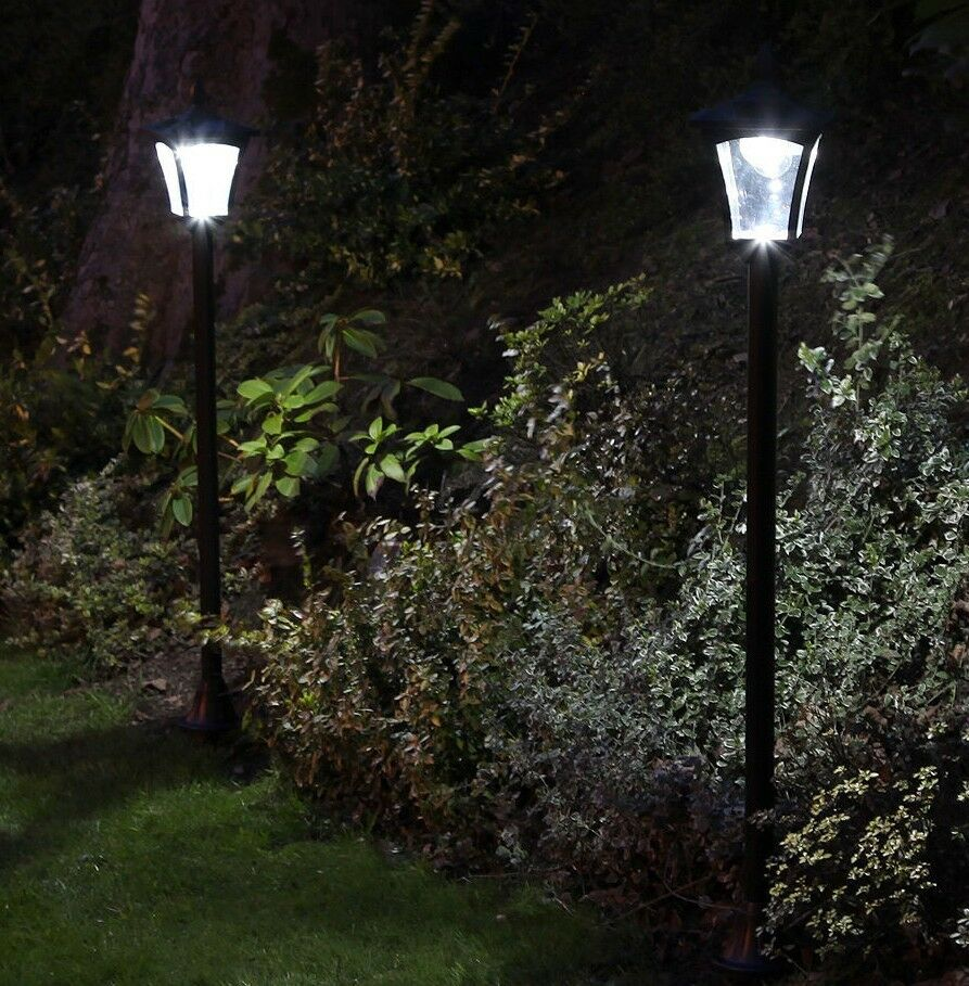 1.2m 2 Pack Solar Power Outdoor LED Lamp Post Light   Security Path Garden Drive