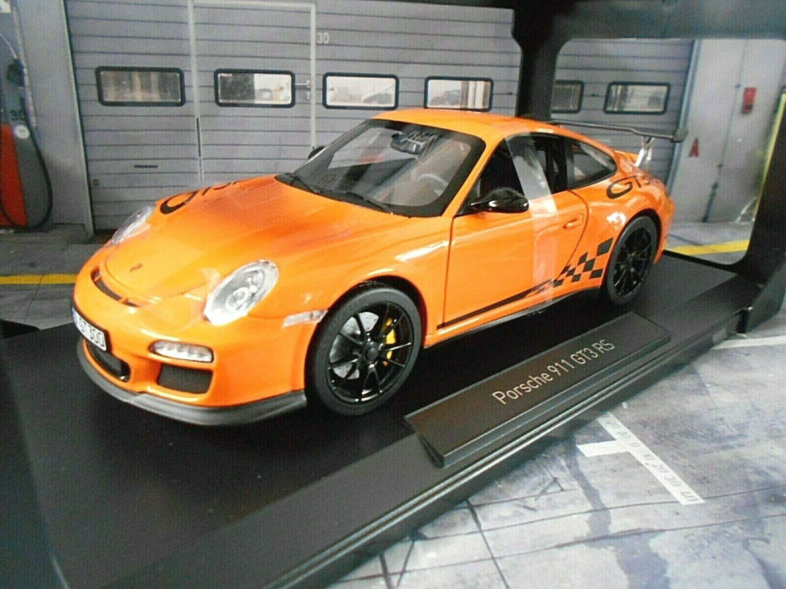 PORSCHE 911 997 GT3 RS Coupe voiturerera 2009 Orange 187562 Norev NEU 1 18
