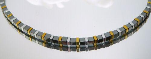 Kette Halskette Würfelkette Perlen HÄMATIT schwarz Quadrate silber gold 066m