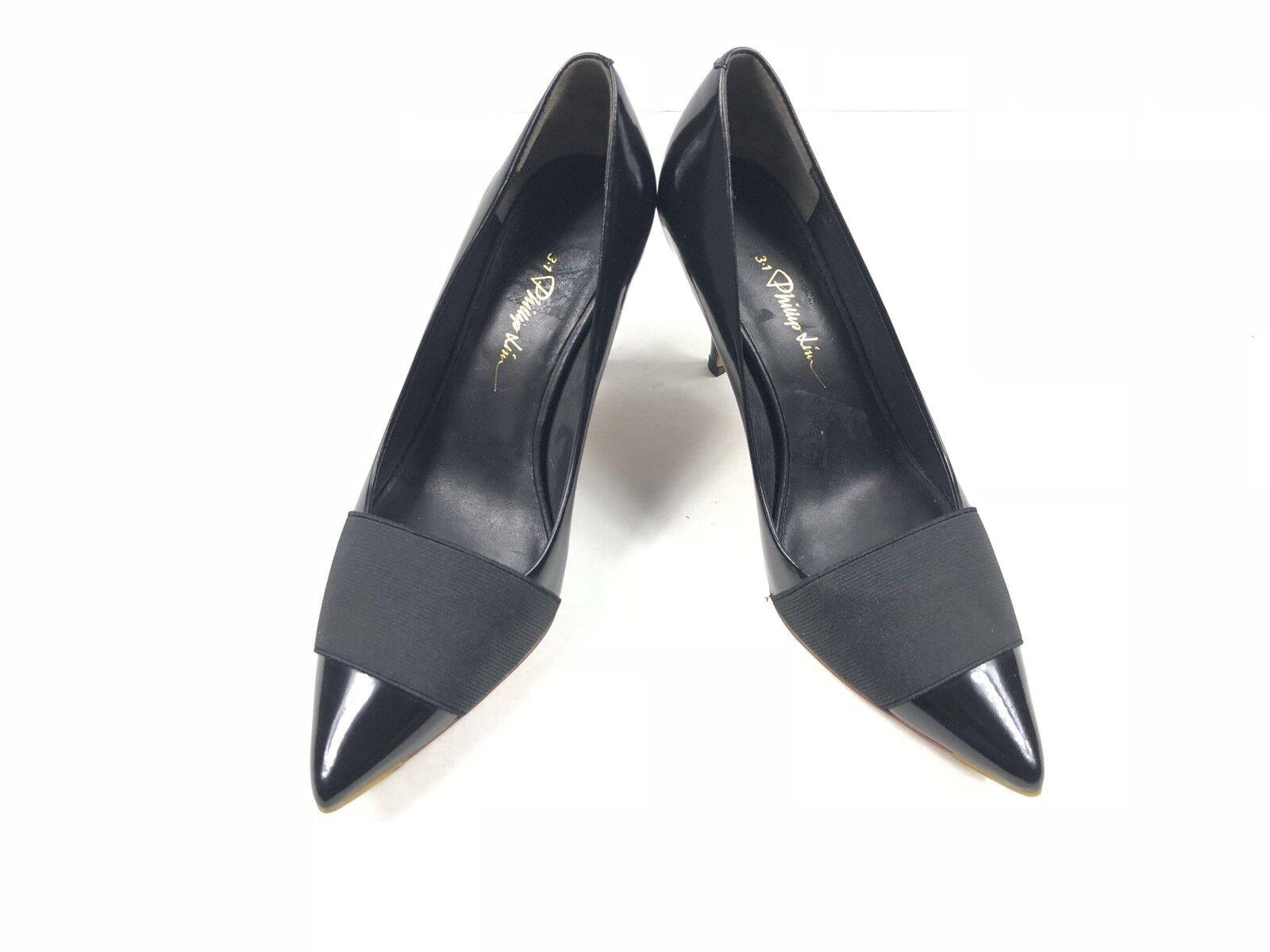 3.1 Phillip Lim femme Bande élastique cuir cuir cuir noir talons taille 38 620215
