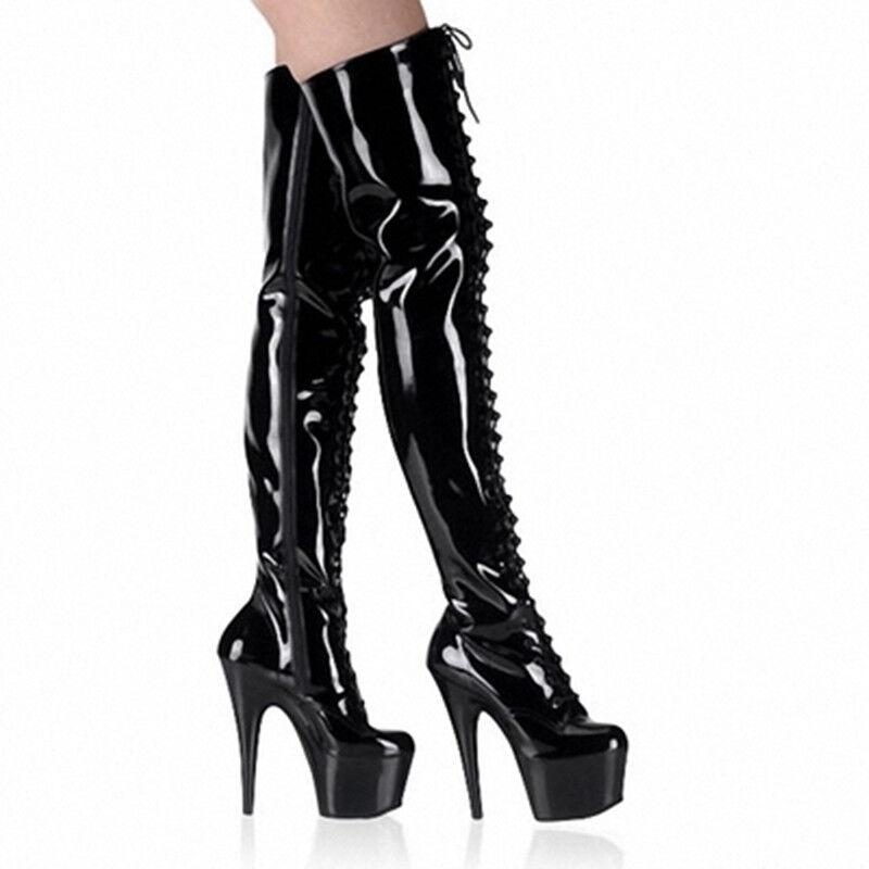 Mujeres Super Sexy Super Mujeres Plataforma De Tacón Alto Charol botas Con Cordones Sobre las Rodillas Zapatos c12c0f
