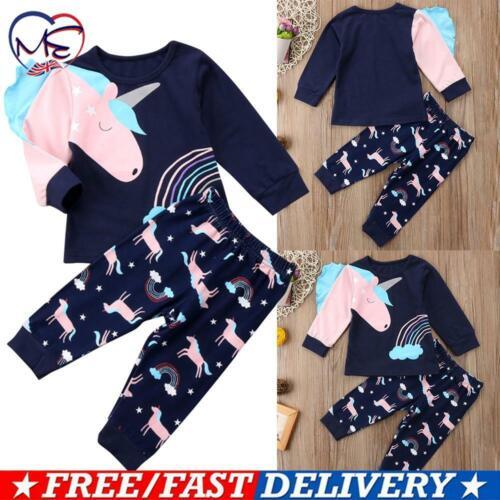 Kids Baby Girls Pyjamas Pjs Sets Unicorn Long Sleeve Nightwear Sleepwear Pajamas