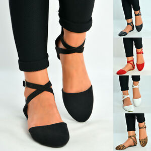 Ladies-Ankle-Strap-Ballerina-Womens-Flats-Court-Pumps-Summer-Comfy-Shoes-Size-Uk