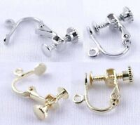 4 Pairs Clip On Screw Back Earring Findings Silvertone/goldtone Without Stone