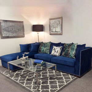 Image Is Loading Chester Blue Velvet Studded Large Corner Sofa Various