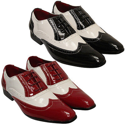 Dynamisch Mens Formal Brogues Shoes Shiny Pointed Toe Gangster Italian Style 60s Retro