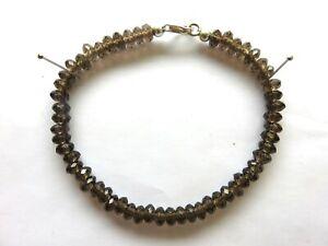 Rauchquarz-facettiert-Armband-20-cm-925-Silber-Smokyquartz-Bracelet-6050
