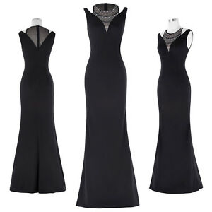 Beaded Long Black Cocktail Bridesmaid Party Ball Gown Wedding Evening Prom Dress