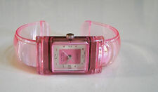 Designer Style Pink Color Plastic Cuff Bangle Quartz Wrist Fashion Watch
