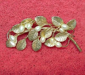 SIGNED-B-B-LEAVES-WITH-GENUINE-PEARLS-1-20-12kt-FASHION-BROOCH-12111