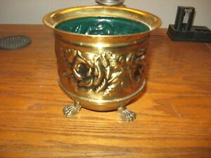 Vintage Floral Embossed Animal Footed Brass Planter Made in England