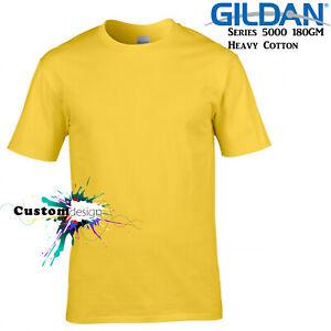Gildan-T-SHIRT-Daisy-Yellow-Basic-tee-S-M-L-XL-XXL-XXXL-Men-039-s-Heavy-Cotton