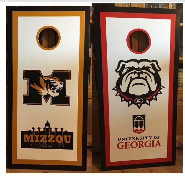 University of  Missouri and Georgia Two Logo Cornhole set with Free bags  more order