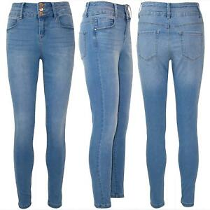 Ladies Womens 3 Button Skinny Denim Whiskers High Waisted Stretchy Pockets Jeans