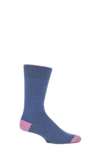 Homme 1 paire viyella court laine contraste talon et orteil chaussettes avec main lié orteil
