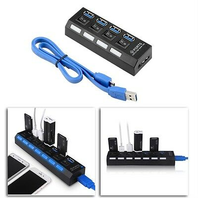 NEW KDQ1 USB 3.0 Hub 4 Ports Speed 5Gbps for PC laptop with on/off switch BLACK@