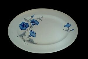 PALISSY-MORNING-GLORY-Blue-Flower-12-inch-Oval-Serving-Platter-Plate-c1950