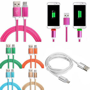 1M LED Light Nylon Braided Micro USB Fast Charger Charging Data Sync Cable Cord