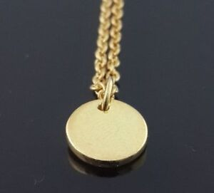 Disc-Necklace-14k-Yellow-Gold-Plated-Over-925-Sterling-Silver-16-in-Link-Chain