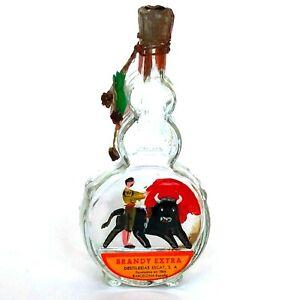 Vtg Guitar Miniature Brandy Bottle Bull Fighter Matador Paint Barcelona Empty