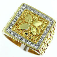 Leaf Nugget With Crystal Stones 18kt Gold Plated Tutone Mens Ring