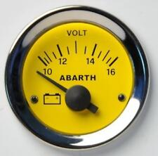 Manometro Strumento Road Italia Abarth Fiat 500 Voltmetro 10-16 Volt 52mm Giallo