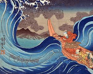 kuniyoshi japanese fishermen pray in storm painting 8x10 fine art