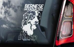 Cane-Bovaro-Del-Bernese-On-Board-Auto-Finestrino-Adesivo-Sennenhund-V01