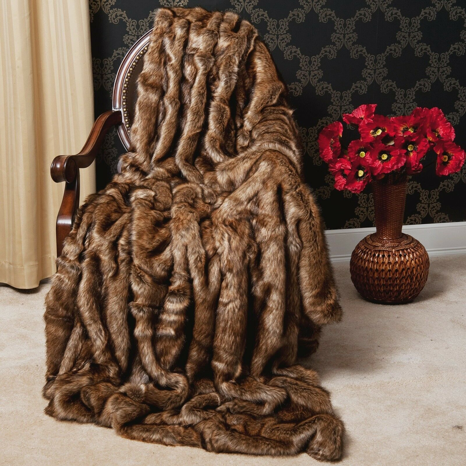 Belle XXL Ultra Doux Synthétique Marron peluche fourrure XL Throw Blanket Gorgeous nouveau