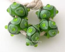 Grass GREEN and SPLIT PEA Offset Dots Lampwork Glass Bead Set Handmade
