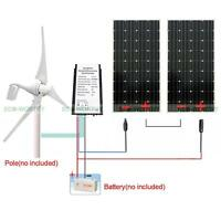 400w Dc Wind Turbine Generator 3 Blade & 100w Mono Solar Panel For Windmill Kit