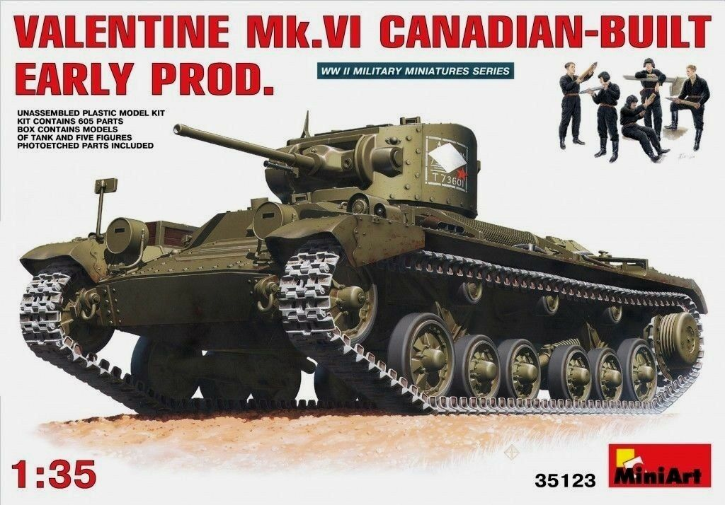 Miniart 1 35 Valentine Mk.VI Canadian Built Early Prod. Tank with Crew Model Kit