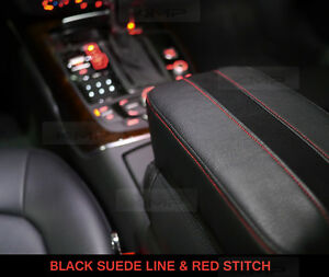 Image Is Loading Black Suede Line Center Console Armrest Cushion Accessory