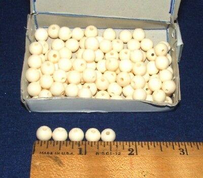 Box of 100 Round Bone Beads White 8 mm Native Crafts Jewelry Making