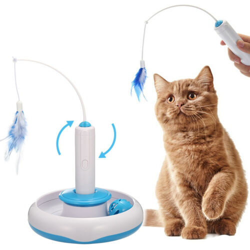 FOCUSPET Automated Cat Interactive Toys Electric Rotate Feather Toys for Cat