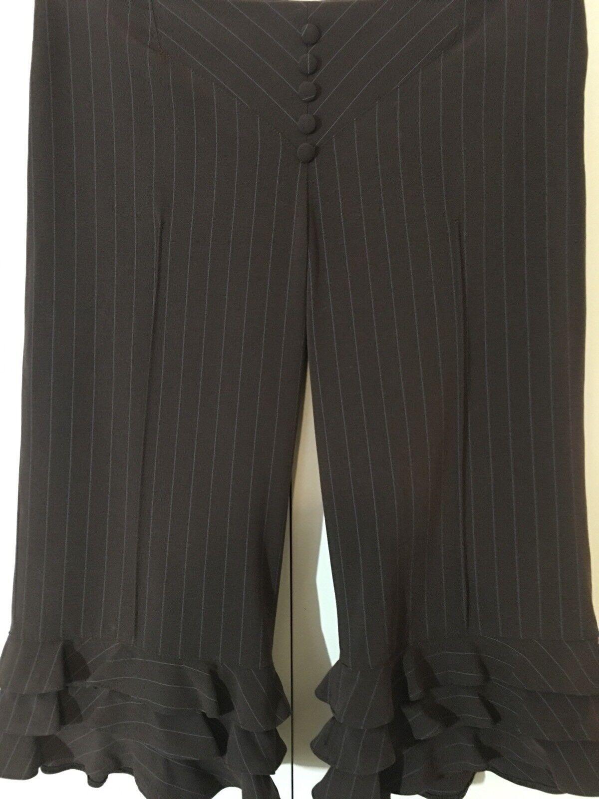 a31b0037964ba9 LOUIS VERDAD Neiman Marcus Brown Turquoise Pinstriped Ruffle Capri Pants  NEW 8