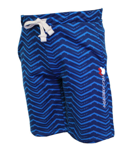 Turq Zigzag Elegant Smart Casual Summer Wear Men Shorts Cotton Blend Fleece