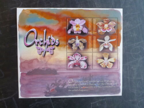 2001 GRENADA CARRIACOU ORCHIDS 6 STAMP MINI SHEET MNH