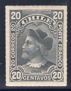 CHILE-1900-1-STAMP-43-MH-WITH-SHADOW-RULETEADOS-CABEZONES-COLUMBUS