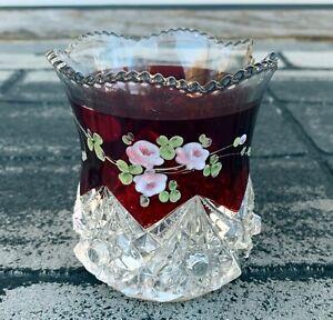 Vintage-Krys-tol-Ruby-Red-Glass-Jar-Early-1900-039-s-Used-Damaged