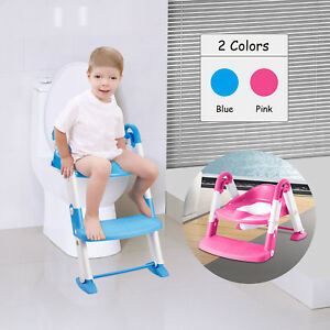 Baby-Kids-Training-Toilet-Potty-Trainer-Seat-Chair-Toddler-Ladder-Step-Up-Stool