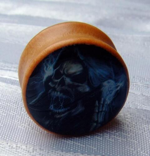 Túnel bollos piercing oreja Saddle Plug madera calavera Skull Organic Wood 8mm-25mm