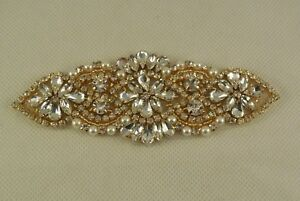 Sposa argento o oro strass applique cucire su gioielli motivo a
